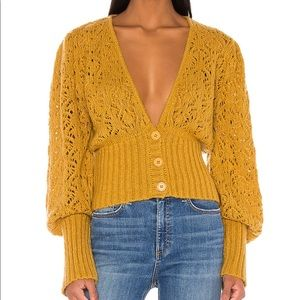 For love&lemons Francois V Neck Pointelle Sweater